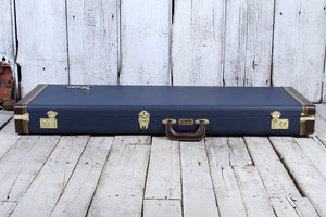 Fender® Classic Series Wood Guitar Case Strat and Tele Hardshell Case Navy Blue
