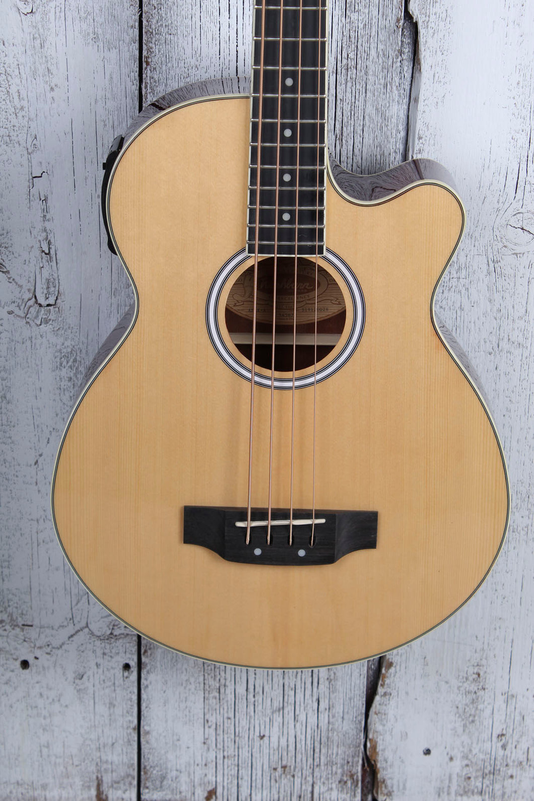 Washburn AB5 4 String Cutaway Acoustic Electric Bass Guitar Natural with Gig Bag