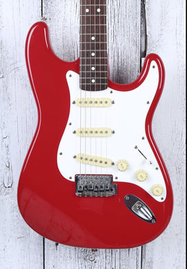 Used Fender Squier Series 1994 MIM SSS Stratocaster Electric Guitar Red
