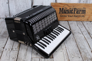 Weltmeister Rubin 30/60/II/3 Piano Accordion Black with Straps and Hard Case