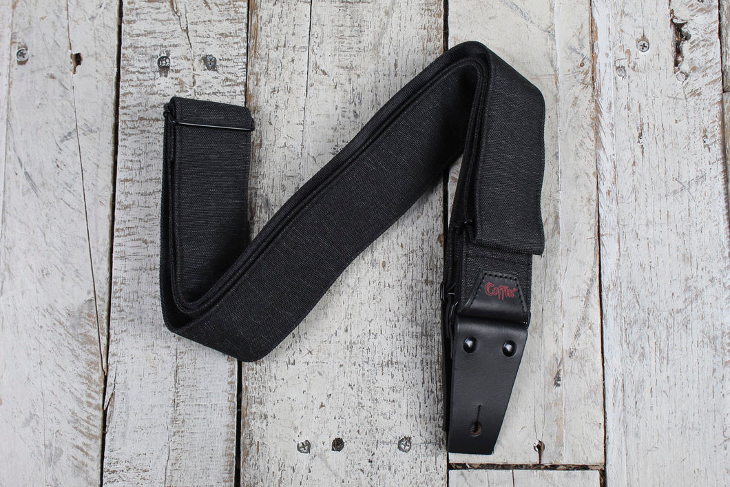 Coffin THE PALLBEARER Guitar Strap Polyester Heathered Grey Strap w Leather Ends