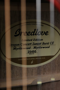 Breedlove USA LTD Oregon Concert Sunset Burst Acoustic Electric Guitar with Case