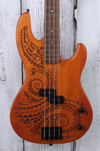 Load image into Gallery viewer, Luna TAT 34 Tattoo 4 String Electric Bass Guitar 34 Inch Scale Natural Satin