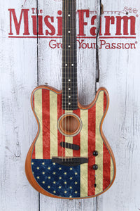 Fender American Flag Acoustasonic Telecaster Acoustic Electric Guitar w Gig Bag