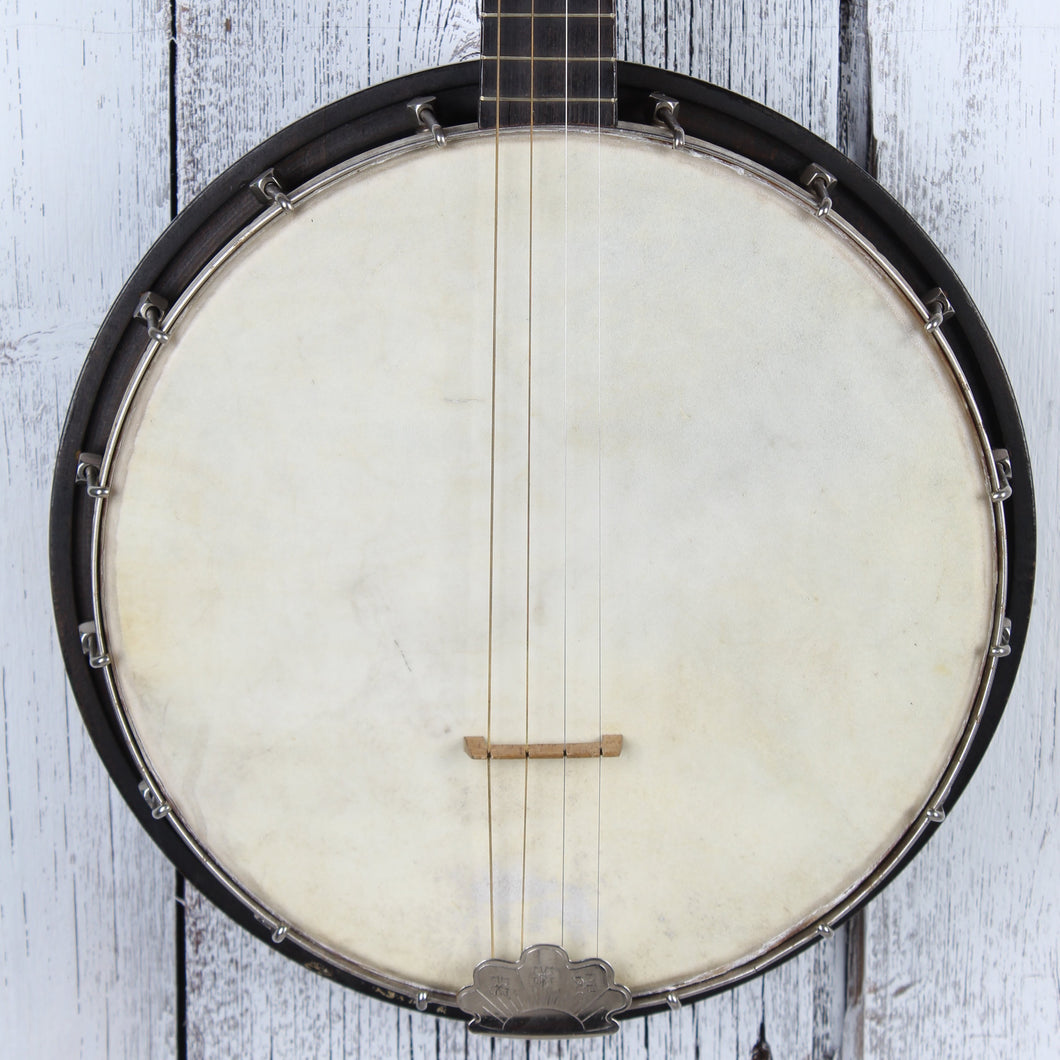 Stella by Oscar Schmidt Vintage 1920's 4 String Banjo with Chipboard Case