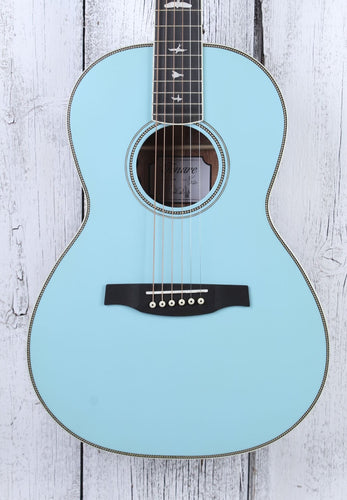 PRS SE P20E Parlor Acoustic Electric Guitar Powder Blue No Pickguard w Gig Bag