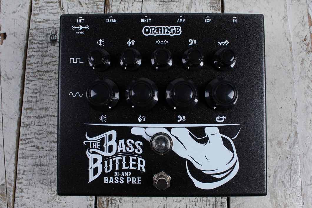 Orange BASS BUTLER Bi-Amp Bass Guitar Preamp Pedal with Bass and Guitar Channels