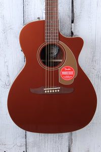 Fender® Newporter Player Acoustic Electric Guitar Solid Spruce Top Rustic Copper