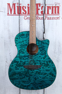 Luna Gypsy Quilt Ash Grand Concert Cutaway Acoustic Electric Guitar Trans Teal