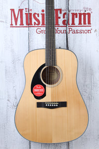 Fender® CD-60S Left Hand Dreadnought Acoustic Guitar Solid Spruce Top Natural