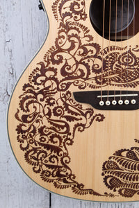 Luna Henna Paradise Acoustic Electric Guitar Select Spruce Natural HEN PA SPR
