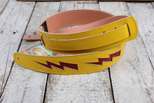 Load image into Gallery viewer, Henry Heller Yellow Capri Leather Guitar Strap with Red Leather Bolts HPDB-YR