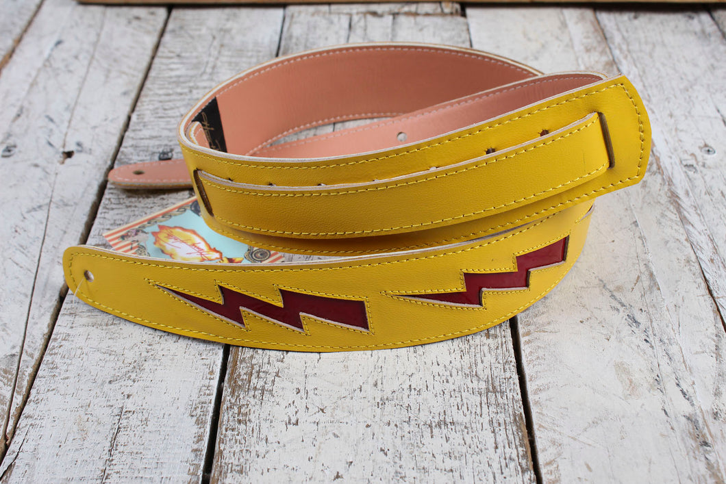 Henry Heller Yellow Capri Leather Guitar Strap with Red Leather Bolts HPDB-YR