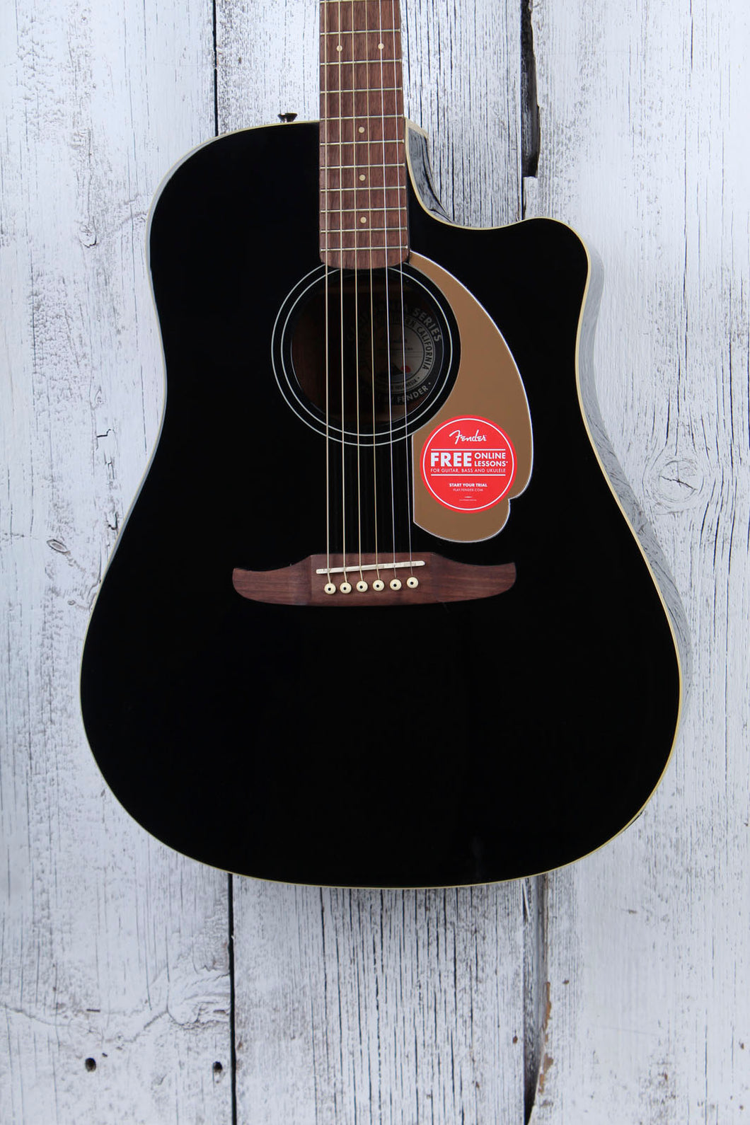 Fender® Redondo Player Acoustic Electric Guitar California Series Jetty Black