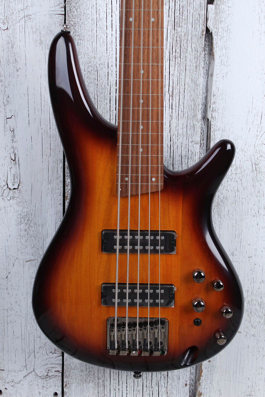 Ibanez SR375EF Fretless 5 String Electric Bass Guitar Brown Burst Finish