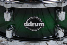 Load image into Gallery viewer, ddrum Dominion Series 5.5 x 14 Birch Snare Drum with Ash Veneer Green Burst