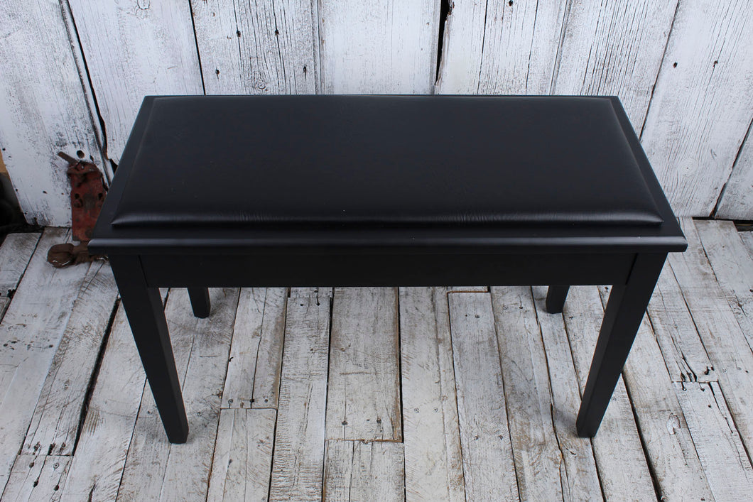 On-Stage KB8904B Deluxe Piano Bench with Storage Compartment Black Padded Vinyl