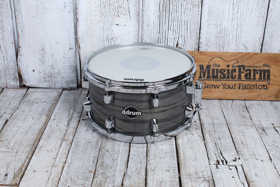 ddrum Dominion Series 7 x 13 Birch Snare Drum with Ash Veneer Transparent Black