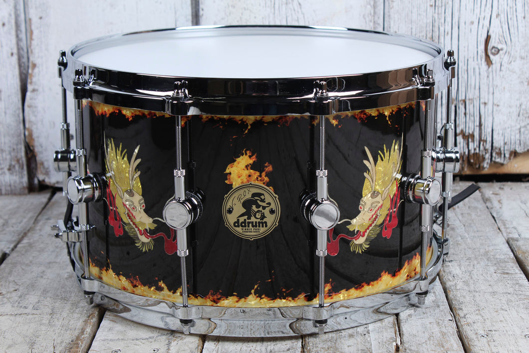 ddrum Limited Edition Vinnie Paul 8 x 14 Snare Drum Custom Dragon Finish w Case