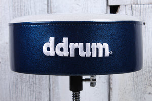 ddrum Mercury Fat Double Braced Drum Throne White and Blue Sparkle MFAT WB