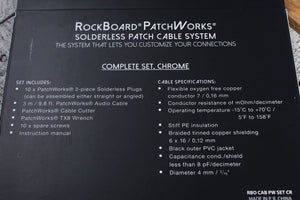 RockBoard PatchWorks Solderless Patch Cable Set 9.8 Foot Cable & 10 Plugs Chrome
