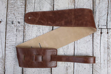 "Load image into Gallery viewer, Henry Heller 3.5"" Capri Leather Strap w/Suede Backing - Vintage Brown"