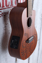 Load image into Gallery viewer, Luna Tattoo Concert Cutaway Acoustic Electric Ukulele UKE TEC MAH with Gig Bag