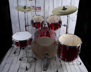 Gretsch Energy 5 Piece Drum Kit with Zildjian Cymbal Pack & Hardware Red Sparkle