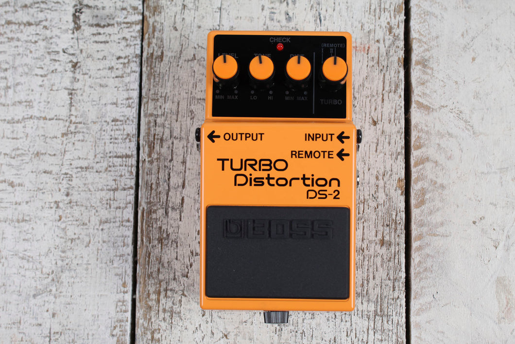 Boss DS-2 Turbo Distortion Electric Guitar Effects Pedal with Three FREE Cables