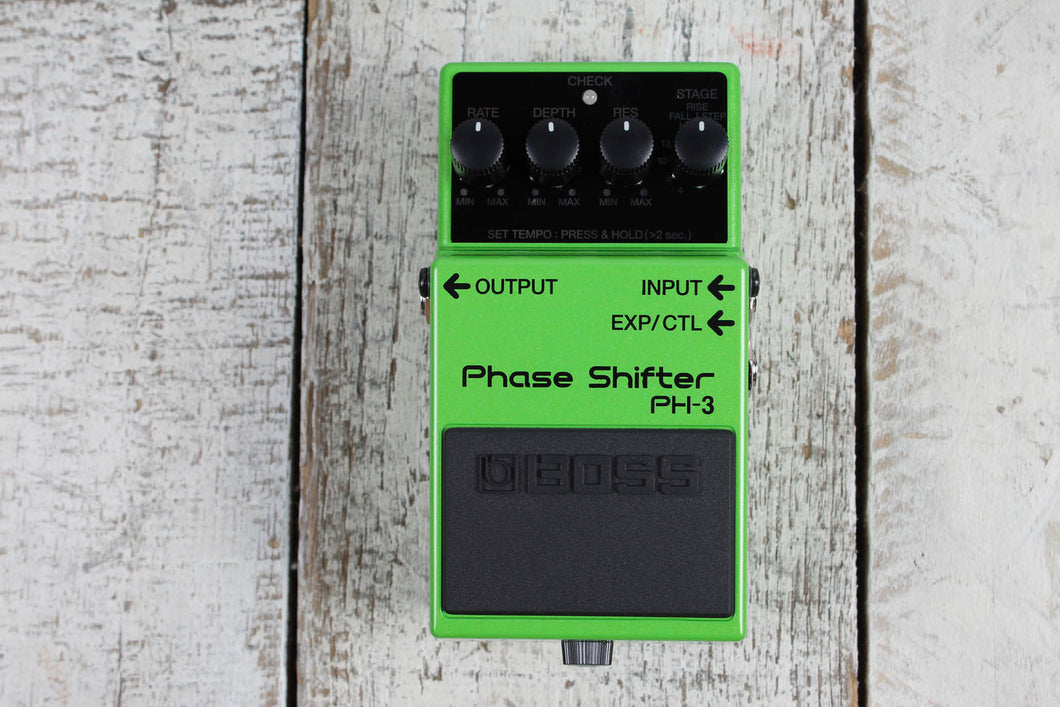 Boss PH-3 Phase Shifter Electric Guitar Effects Pedal with Three FREE Cables
