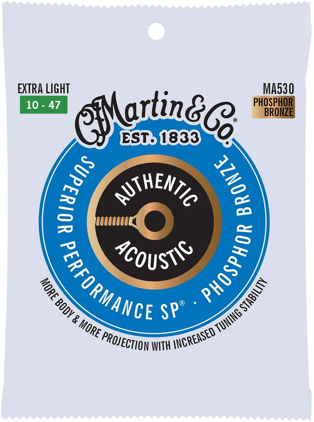 Martin Guitar MA530 Authentic Acoustic Extra Light Guitar Strings, 92/8 Phosphor Bronze
