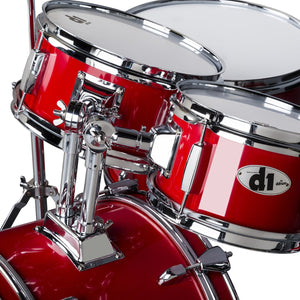 ddrum D1 Junior Complete 5 Piece Drum Set with Cymbals and Throne Candy Red