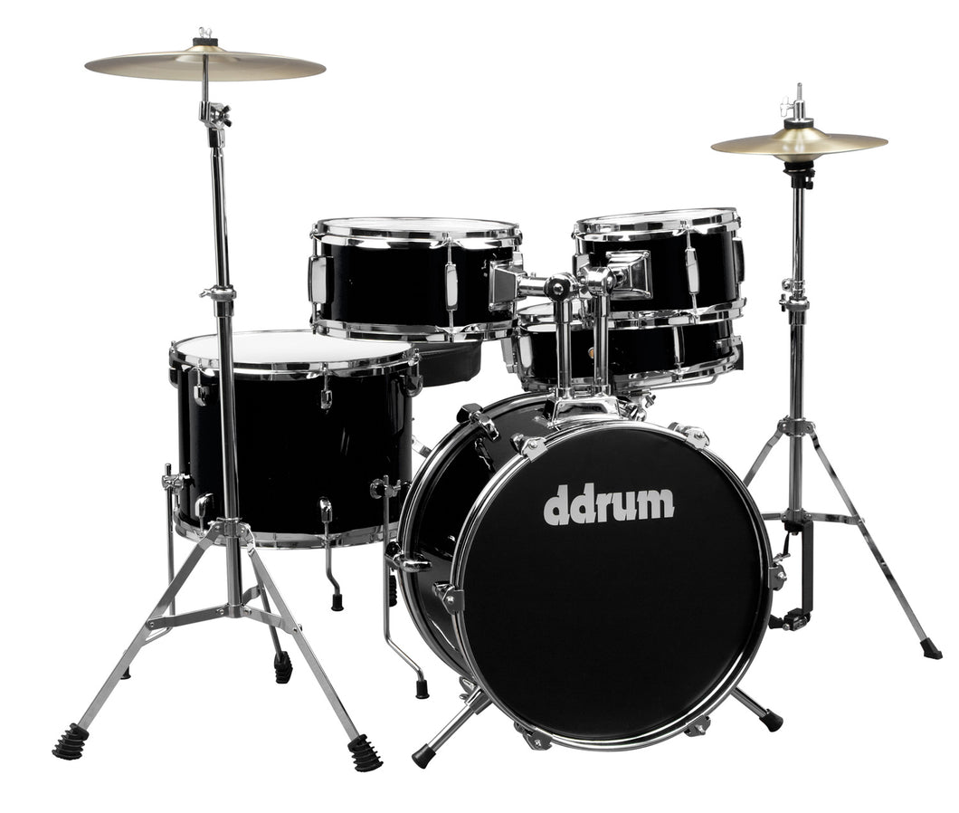 Ddrum D1 5 Piece Black Junior Complete Drum Set Cymbal Bass Tom Snare Throne Kit