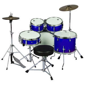 ddrum D1 Junior Complete 5 Piece Drum Set with Cymbals and Throne Police Blue
