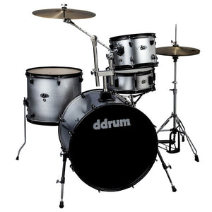 DDrum D2 Rock 4 Piece Drum Set Kit with Hardware, Silver Sparkle
