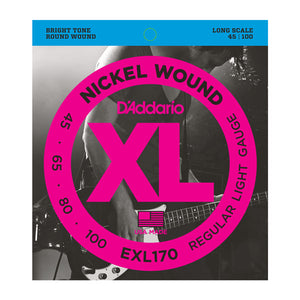 D'Addario EXL170 Nickel Bright Electric Bass Strings - Long Scale - 45 - 100 +