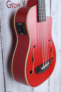 Kala Journeyman U Bass Acoustic Electric Ukulele Bass Matte Red with Gig Bag