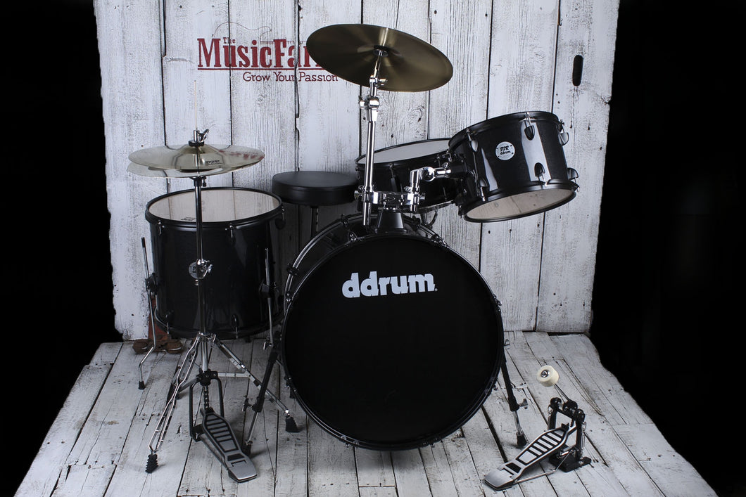 ddrum D2 Rock Complete 4 Piece Drum Set with Hardware Black Sparkle D2R BLK SPKL