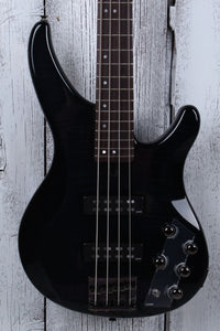 Yamaha 4 String Electric Bass Guitar Flame Maple Top TRBX604 FM TBL Trans Black