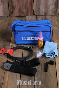 Boss Guitar Care Kit with Strap Polish Cloth Winder Picks Cable and Carrying Bag