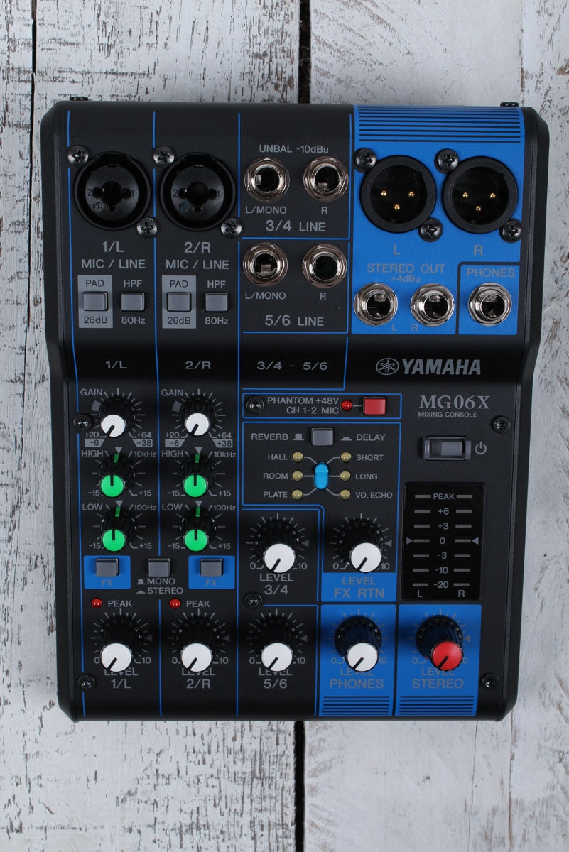 Yamaha MG06X 6 Channel Compact Analog Mixer with 2 Mic Preamps & Digital Effects