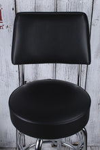 Load image into Gallery viewer, Fender® Blackout Backrest Guitar Barstool 30 Inch Tall 360 Degree Swivel Stool