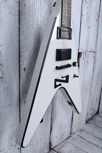 Sozo Z Series ZVW Flying V Electric Guitar White w Black Bevel w Hardshell Case
