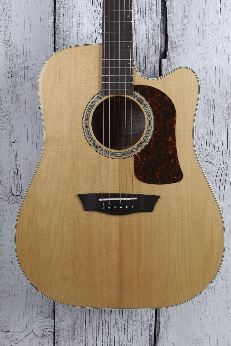 Washburn All Solid Wood Acoustic Electric Guitar HD100SWCEK with Case BLEM