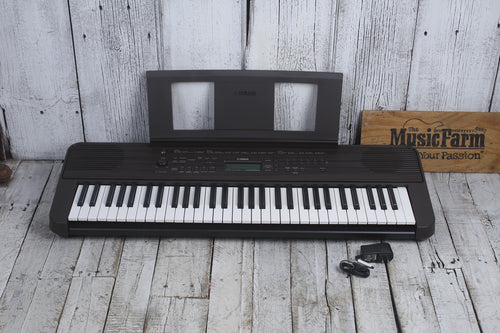 Yamaha PSR-E360 61 Key Touch Sensitive Portable Keyboard Walnut w Power Supply