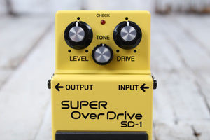Boss SD-1 Super Overdrive Electric Guitar Effects Pedal with Three FREE Cables