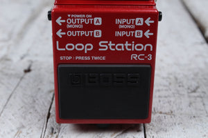 Boss RC-3 Loop Station Electric Guitar Effects Looper Pedal w Three FREE Cables