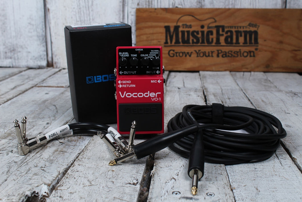 Boss VO-1 Vocoder Electric Guitar and Bass Guitar Effects Pedal with FREE Cables
