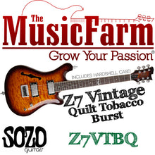 Load image into Gallery viewer, Sozo Z Series Z7 Vintage Electric Guitar with Case - Tobacco Burst