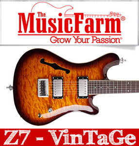 Sozo Z Series Z7 Vintage Electric Guitar with Case - Tobacco Burst